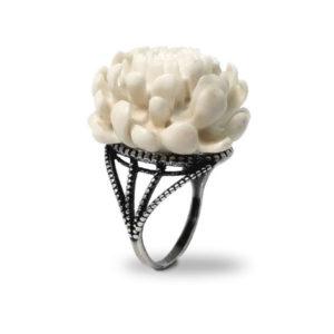 «Хризантема белая» кольцо