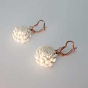 «Хризантема белая» серьги