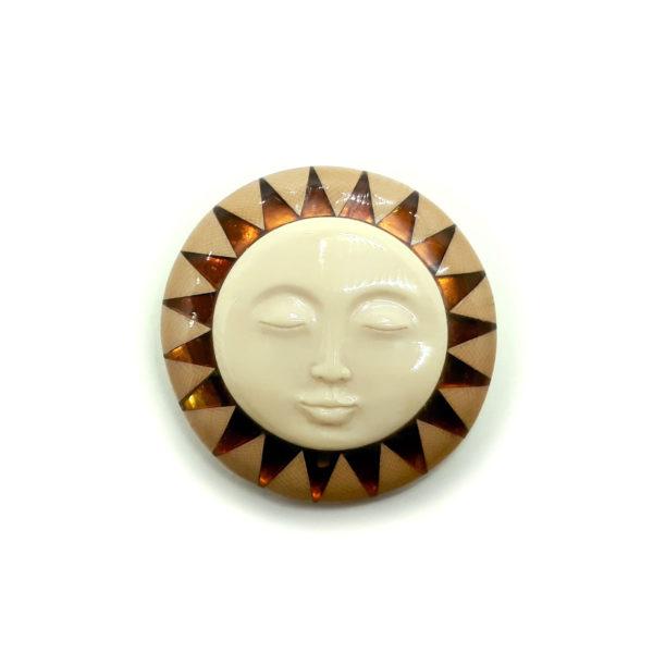 Брошь Солнечный лик - янтарь, бивень мамонта, серебро