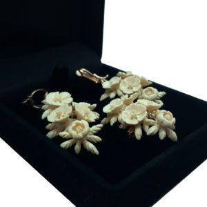 «Цветы» комплект украшений из бивня мамонта