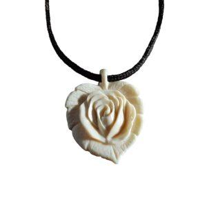 Роза на листе. Кулон из бивня мамонта